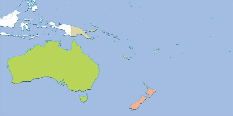Oceania countries by their population