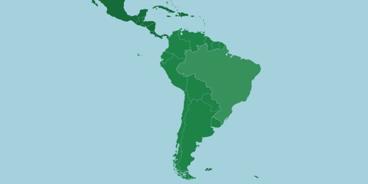 South American countries by their population